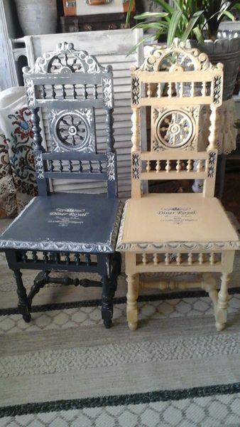 zwei alte englische Stühle Massiv Landhaus Vintage von Shabbytraum auf DaWanda.com