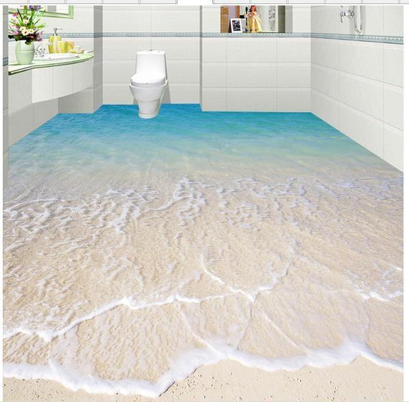 Custom photo floor wallpaper 3D stereoscopic 3D sea beach