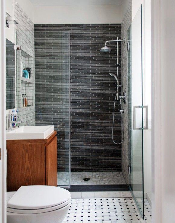 Small contemporary bathroom // small vanity, basketweave floor tile, dark grey back wall, light grey side walls, frameless shower