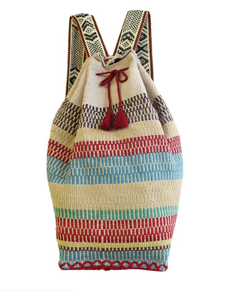 """Our backpacks come from the Peruvian highlands and are all one of a kind """"mochilas"""" in vintage fabrics. Made by a husband and wife artisan team - each is unique. The perfect weekend getaway bag! 21x16"""" Handmade in Peru. Choose your one-of-a-kind designbelow!"""