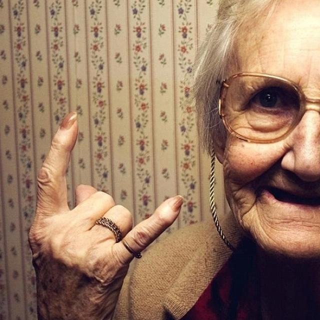 "Grandma is giving the ""Italian Horns"" symbol.  Not good, trust me!"
