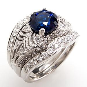 simon g blue sapphire engagement ring wedding set platinum - Sapphire Wedding Ring Sets