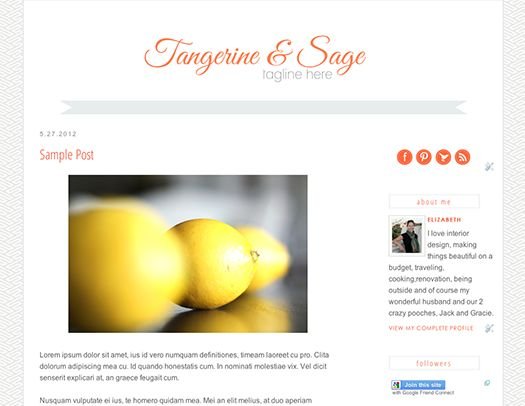 Tangerine and Sage Pre-Designed Template by TMC Designs