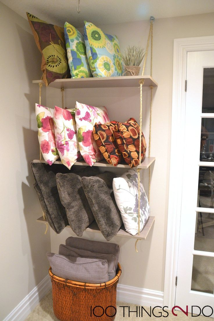 Throw pillow storage, DIY rope shelves, rope shelf, throw pillow organization, organizing throw pillows