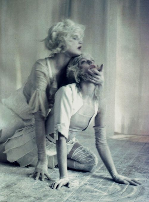 """Sasha Pivovarova and Guinevere Van Seenus in """"A White Story"""", photographed by Paolo Roversi for Vogue Italia April 2010."""