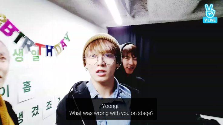 Traduçao=Yoongi. O que houve de errado com você no palco? V Live em comemoração ao aniversario de J-Hope 18/02/2017