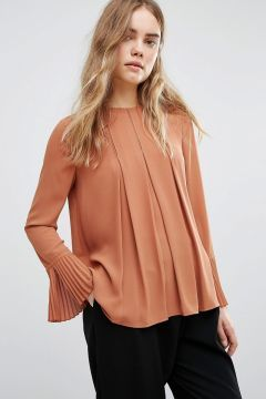 Warehouse Box Pleat Top - Copper https://modasto.com/warehouse/kadin-ust-giyim-gomlek-bluz/br41612ct4