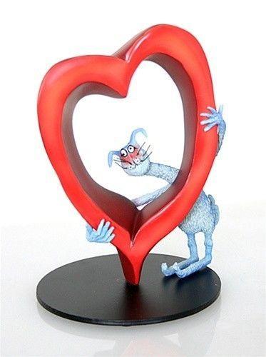 MMissing You Lots CAT & HEART ROMANCE STATUE SCULPTURE Cartoonist Tony Fernandez