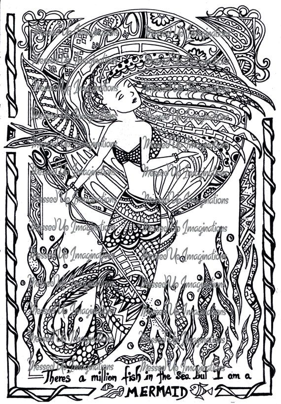 printable adult coloring book page instant digital download coloring page mermaid coloring page fantasy coloring page colouring pages - Mermaid Coloring Pages Adults