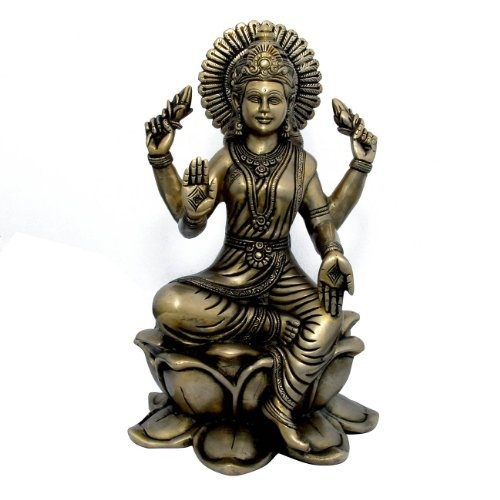 Amazon.com: Hindu Goddess Lakshmi Sculptures Brass Figurines for Home Temple Mandir: Home & Kitchen