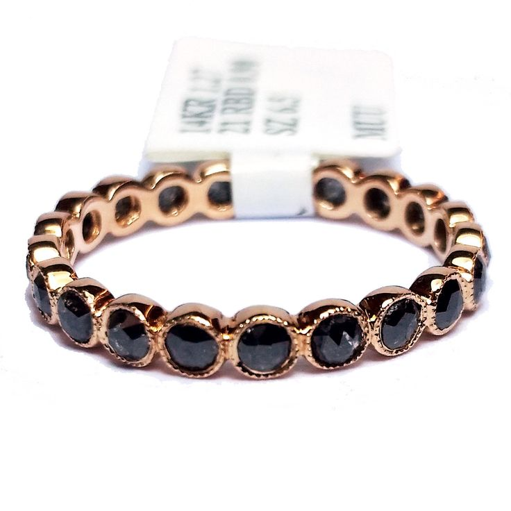 14-Karat Rose Gold Milgrain Accent 21 Round Black Diamonds: 0.90 cttw Width: Approximately 2.80mm Size: 6.50 Stock #130-2000297