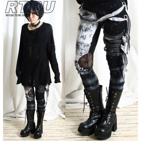Unisex Ultra Long Zombie Gauze Punk Gothic Punk Distressed Tie Dye... ($42) ❤ liked on Polyvore featuring pants, leggings, grey, women's clothing, ruched leggings, cross leggings, embellished leggings, crochet leggings and ripped pants
