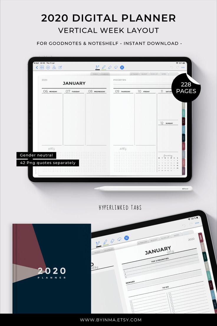 Digital Planner iPad Pro, Goodnotes planner 2020 for men