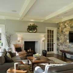 Colors!: Wall Colors, Ideas, Living Rooms, Stones Wall, Traditional Family Rooms, Rooms Paintings Colors, House, Dewson Construction, Traditional Families Rooms