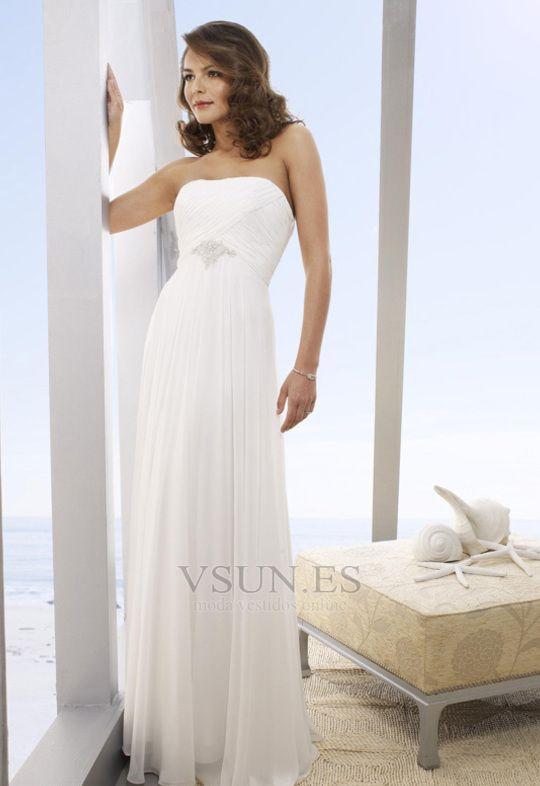 Vestido de novia Elegante Abalorio Rectángulo Gasa Diosa vestido de novia