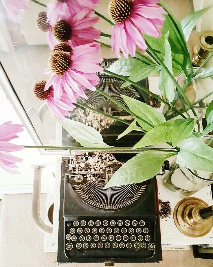 DIY White Halltree Makeover With Vintage Industrial Typewriter And Pink Flowers Antique Vignette For More Entryway DecorInterior Design