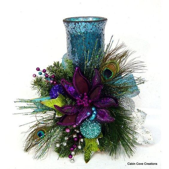 Peacock Christmas floral Arrangement Centerpiece Candle Holder Mosaic... ❤ liked on Polyvore featuring home, home decor, peacock home decor, purple home accessories, purple centerpieces, pink centerpieces and floral centerpieces