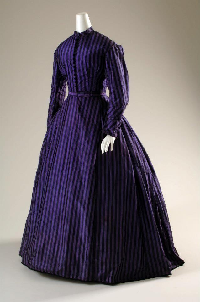 Purple and black silk taffeta, circa 1860.