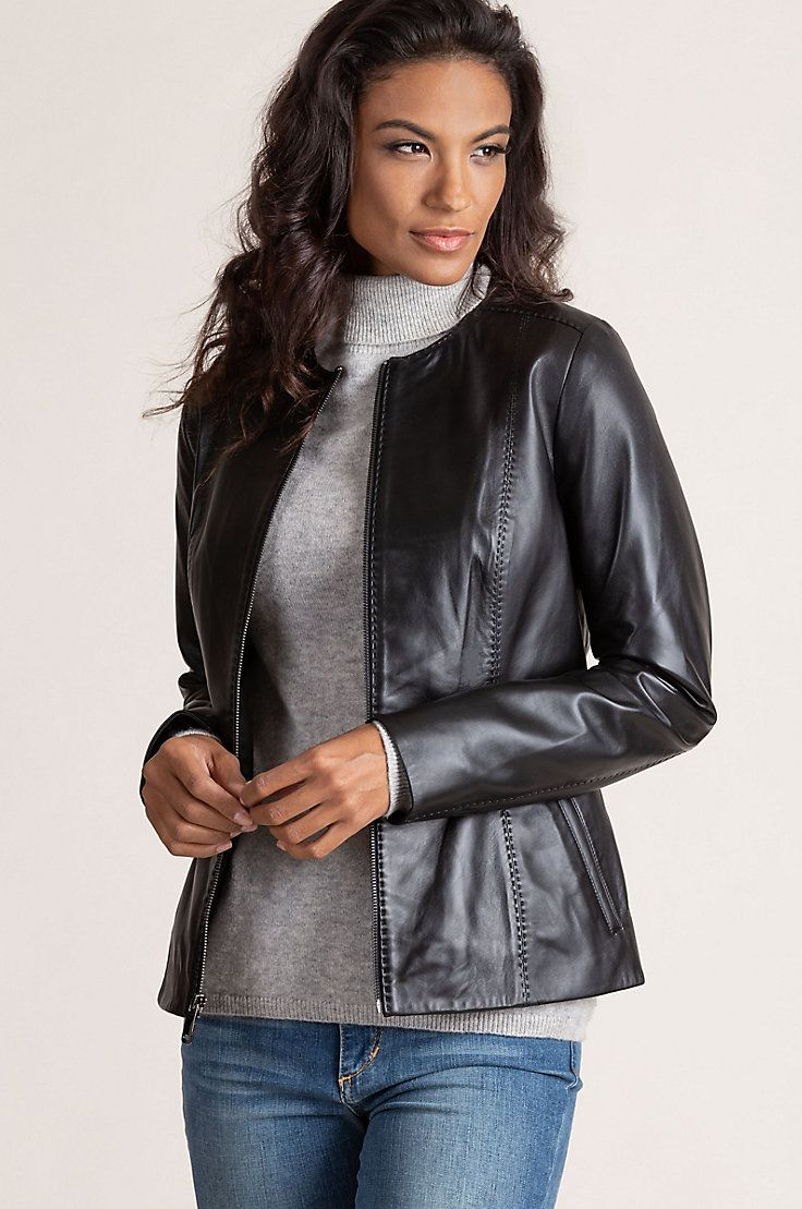 Smooth Lambskin Leather With A Fine Sheen A Collarless Neckline And Pick Stitch Detai Collarless Leather Jacket Lambskin Leather Jacket Leather Jackets Women [ 1109 x 736 Pixel ]