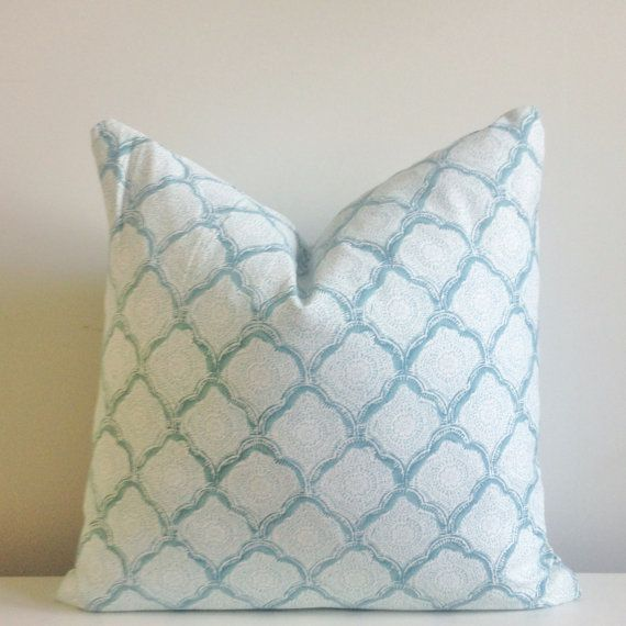 seafoam block print decorative pillow cover 18x18 20x20 square throw pillow accent pillow 22