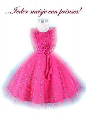 062 Fuchsia jurk met glinsterende tule rok 110/116