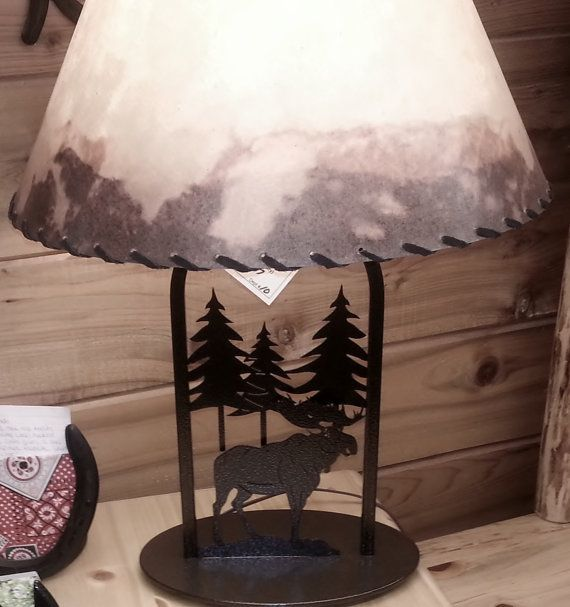 Rustic Moose Table Lamp By OLHF On Etsy, $135.00