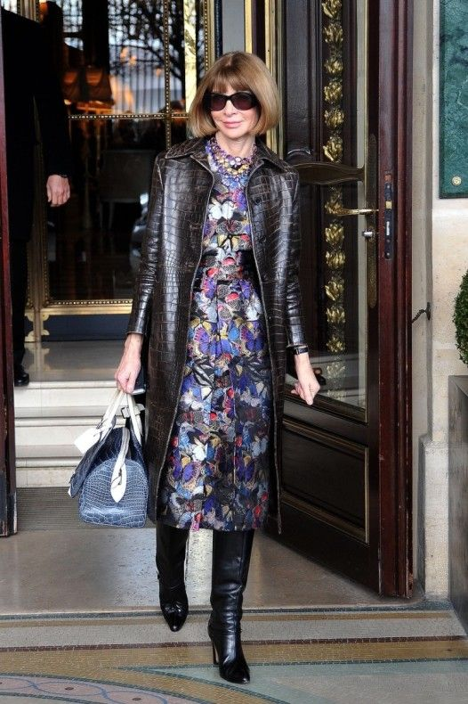 Anna Wintour in Prada coat, Valentino dress, and Louis Vuitton bag
