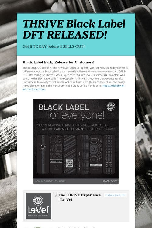 help spread the word about thrive black label dft released please share level thrive. Black Bedroom Furniture Sets. Home Design Ideas