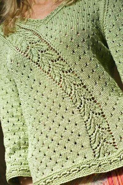 Blusa asimetrik yapraklı örgü bluz örneği