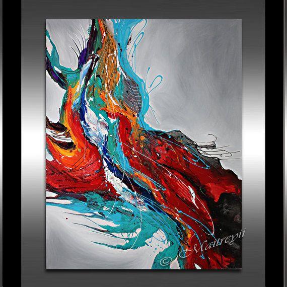 Groot Abstract schilderen kunst aan de muur hedendaagse