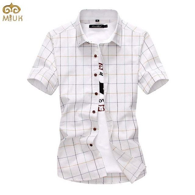 MIUK Large Size Plaid Chemise Homme 5XL 4XL Gray White Short Sleeve Cotton Camisa Masculina Brand Clothing Men Shirts 2017 New