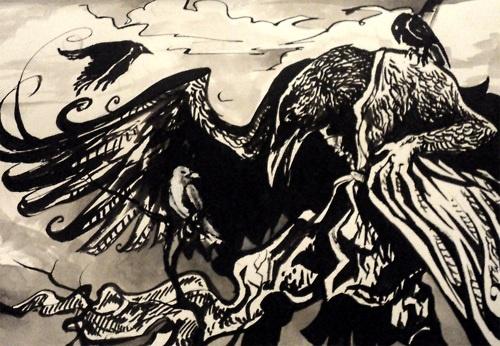 raven crow half man - photo #32