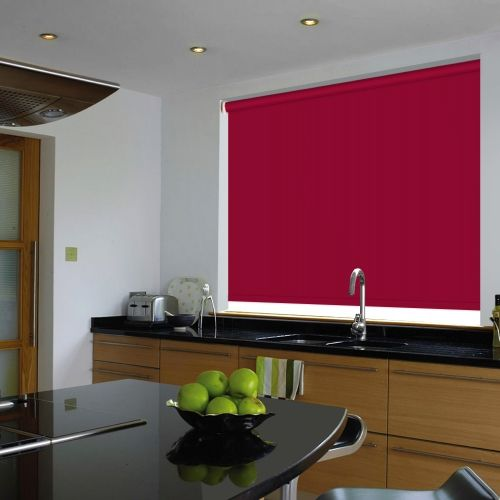 A bright pink waterproof roller blind, that is flame retardant and easy clean