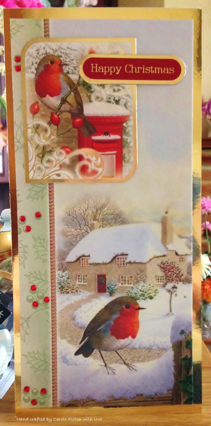 """Christmas Card (153) - DL Card, Hunkydory """"Little Robin Redbreast"""" with added bow and gems"""