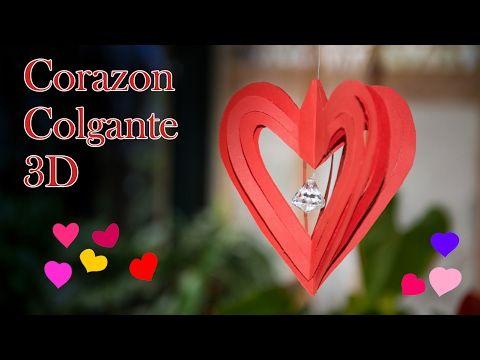 Decoracion Papel Corazon Colgante 3D - YouTube