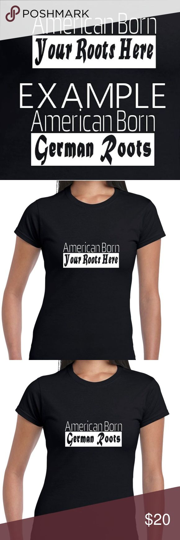 """Reflective Or Glow In The Dark Custom Tee """"American Born - Your Roots"""" Custom Women's Tee.  Customize your own """"Roots"""" ancestry tee for free! Tag us on this post when you purchase and tell us the roots you want on the t-shirt! Born elsewhere? Let us know!  - The base tee is Cotton Plant-Based, and 100% Made In The USA (No sweatshops, slave labor, etc!) - Default order is """"Glow In The Dark"""". Notify us if you want reflective! - From dusk to early dawn VISIBL designs are great for biking…"""