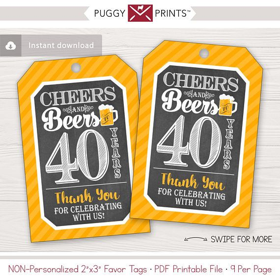 Cheers And Beers To 40 Years Birthday Favor Tags Editable