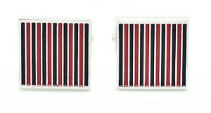 Chelsea Jewelry Basic Collections Red & Black Color Pin Stripes Cufflinks