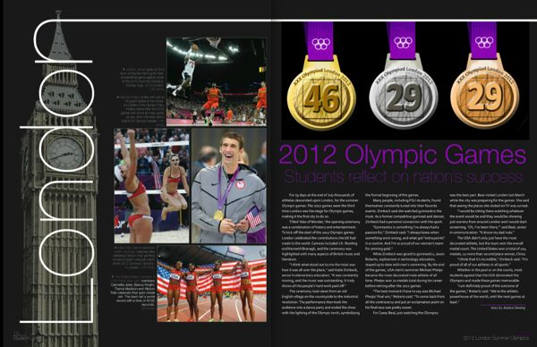 I really like how they incorperated the medals and the words and big ben all together.   Olympics Spread for 2013 Kanza Yearbook by Kathryn Wright, via Behance