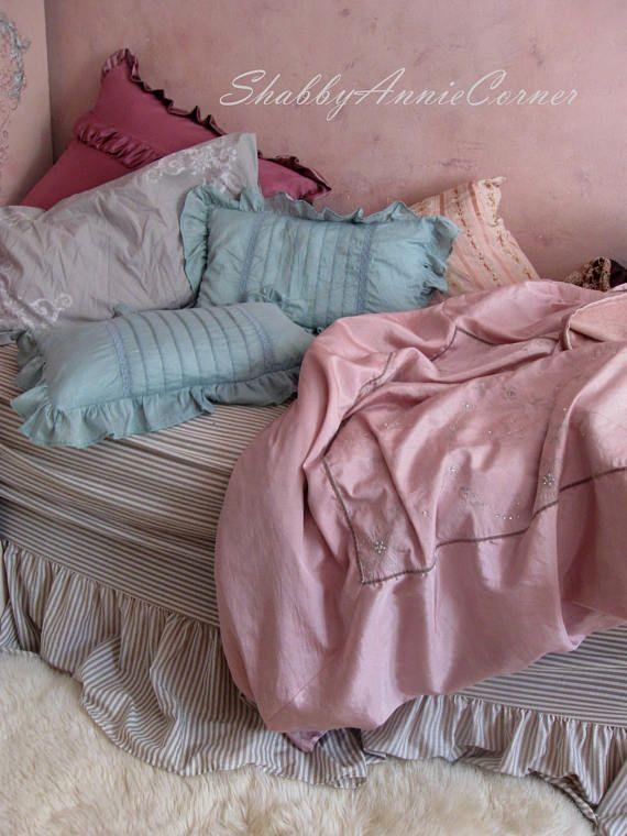 Ruffle pillows Dark mint pillows Shabby chic pillows Teal