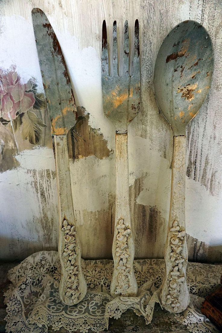 Rustic spoon fork knife wood metal wall hanging ornate French farmhouse painted distressed kitchen dinning home decor anita spero design by AnitaSperoDesign on Etsy https://www.etsy.com/au/listing/556851043/rustic-spoon-fork-knife-wood-metal-wall