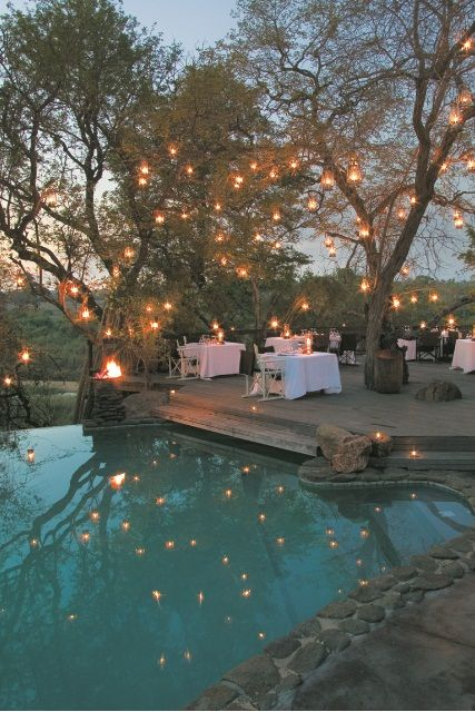 Dinner by the pool at Singita Boulders Safari Lodge, South Africa #luxury #romantic