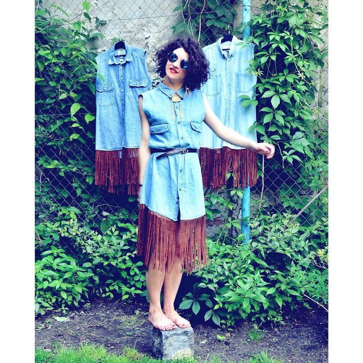Indian summer ♻️ #reworked #vintage #shirts #upcycle #denim #summer #dress #festivalchic #boho #style #fringe #casual #streetstyle #natural #instacool