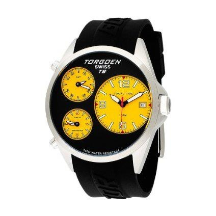 Torgoen T08302 mens stainless steel, 44mm triple time zone watch with black face, yellow sub-dials and black polyurethane band.