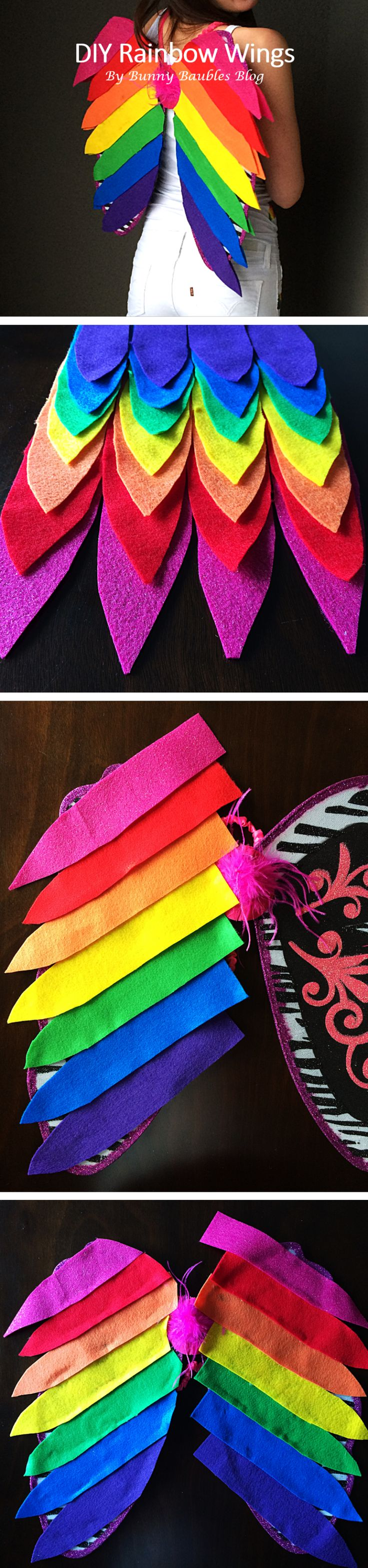 DIY rainbow wings for Lisa Frank Rainbow Kitten