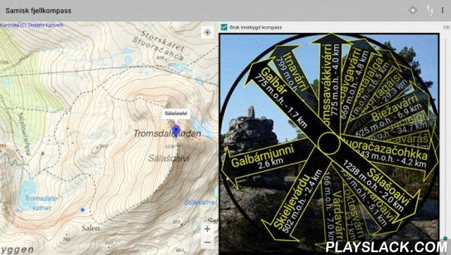 Sami Hiking Compass  Android App - playslack.com , This app is made for hikers who is interrested in sami place names. It will show you the sami name, direction and distance (and sometimes altitude) to many hill- and mountain tops in the terrain around you. When your device is flat you see a compass with arrows pointing towards the tops, and when it's held upright you see an augmented reality camera view. In camera view you can take photos, and the sami names of the tops and other places…