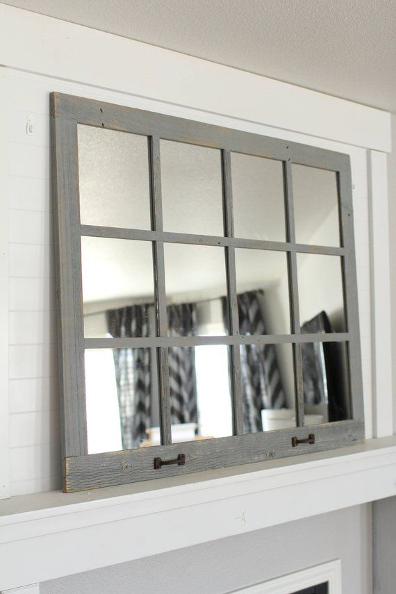 Farmhouse Mirror Gray 12 Pane Rustic Distressed Windowpane Mirror Farmhouse Mirrors Living Room Mirrors Living Room Wood