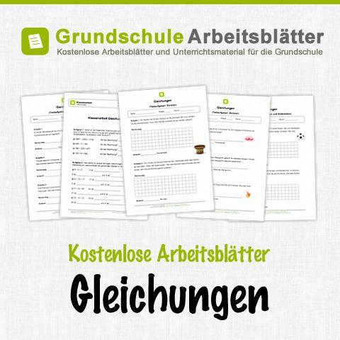 Kostenlose Arbeitsblätter und Unterrichtsmaterial zum Thema Gleichungen im Mathe-Unterricht in der Grundschule.
