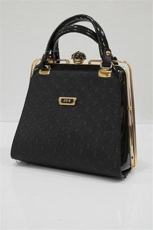 Clipsli Çanta - Siyah - SDS çanta modelleri, sırt çantası, yılan derisi, tutmalı çanta, çanta markaala.com.tr #moda #fashion #diy #tesettür #çanta