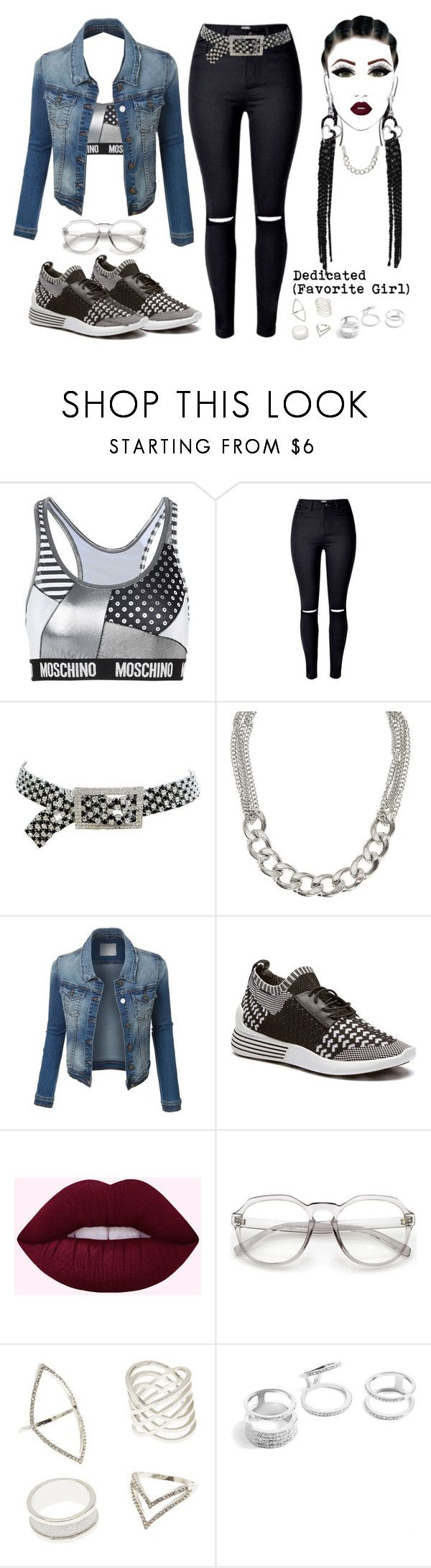 """R. Kelly- Dedicated (Favorite Girl)"" by texasradiance ❤ liked on Polyvore featuring Moschino, Kenneth Jay Lane, claire's, Charlotte Russe and GUESS"